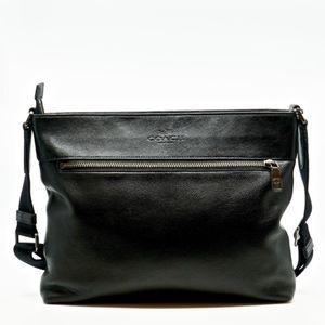 COACH~sam~BLACK LEATHER CROSSBODY LAPTOP BAG